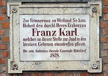 Gedenktafel in Wien-Hütteldorf (Quelle: Wikimedia)