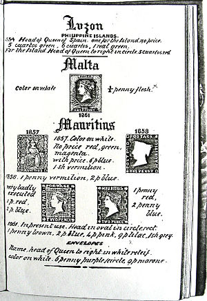 """Frederick Booty - A hand-drawn page from Booty's catalogue showing early  Malta and Mauritius stamps but not the famous Mauritius """"Post Office"""""""