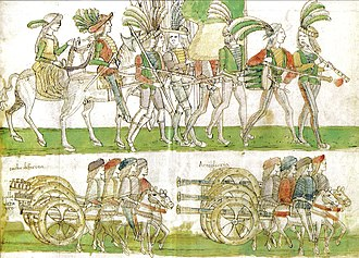 Naples - French troops and artillery entering Naples in 1495, during the Italian War of 1494–98.