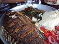 Fried Tilapia, Ugali, Sukuma Wiki and Kachumbari (From Kisumu).JPG