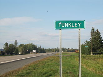 Funkley, Minnesota - Funkley, MN Road Sign and Bar