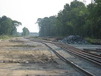 Global TransPark - GTP rail spur construction facing east towards the Spirit Aerosystems manufacturing facility