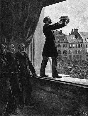 Léon Gambetta - Gambetta proclaiming the Republic of France, from the painting by Howard Pyle.