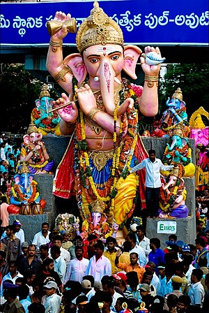 Mythological hybrid - Street festivities in Hyderabad, India, during the festival of Ganesha Chaturthi.