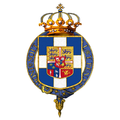 Garter-encircled coat of arms of George II, King of the Hellenes.png
