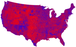 Red states and blue states - 2008 United States presidential election results by county, on a color spectrum from Democratic blue to Republican red.