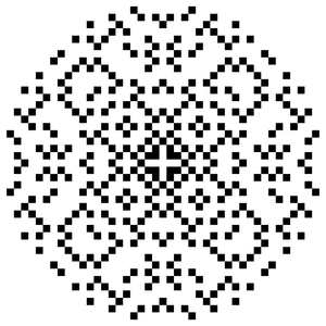 """A set of dots lying within a circle. The pattern of dots has fourfold symmetry, i.e., rotations by 90 degrees leave the pattern unchanged. The pattern can also be mirrored about four lines passing through the center of the circle: the vertical and horizontal axes, and the two diagonal lines at ±45 degrees."""