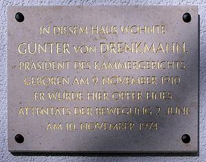Gedenktafel Bayernallee 10 (West) Günter von Drenkmann