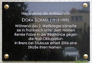 Dora Davidsohn - Memorial tablet at Dammweg 73, in Berlin-Plänterwald