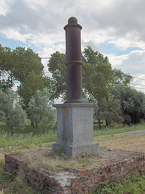 Geodesy - An old geodetic pillar (1855) at Ostend, Belgium
