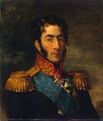 Portrait of a curly-headed Pyotr Bagration with long sideburns in a military uniform