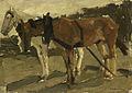 George Hendrik Breitner - Een bruin en een wit paard te Scheveningen.jpg