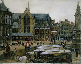 Dutch art - The Dam, Amsterdam (c. 1895) by George Hendrik Breitner
