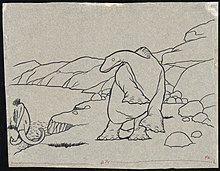A black-and-white cartoon drawing.  A long-necked dinosaur in the center reels back on its hind legs.  It looks at a mastodon which is walking on-frame from the left.