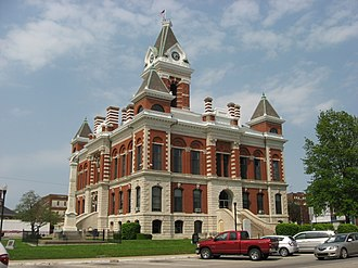 Princeton, Indiana - Southern and western sides of Princeton's best-known landmark, the 1884 Gibson County Courthouse