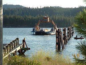 Franklin D. Roosevelt Lake - Gifford Ferry crossing Lake Roosevelt near Inchelium; James Stripes photo