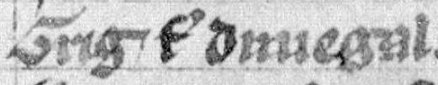 "The name of Giric as it appears on folio 30v of Lat. 4126: ""Grig filius Dunegal"". Giric (Lat. 4126, folio 30v).jpg"