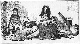 Homelessness - German illustration of a homeless mother and her children in the street, before 1883