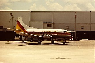 Wichita State University football team plane crash - A Martin 4-0-4, circa 1981, in Florida Airlines livery.