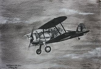 "Royal Air Force, Bermuda (1939–45) - Artist's impression of the Gloster Gladiator flown by Bermudian Flying Officer Herman Francis Grant ""Baba"" Ede, DFC on the 24th May, 1940, during the Battle of Norway"