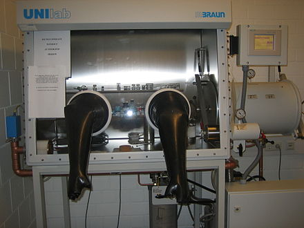 Gloveboxes are often filled with argon, which recirculates over scrubbers to maintain an oxygen-, nitrogen-, and moisture-free atmosphere Glovebox.jpg