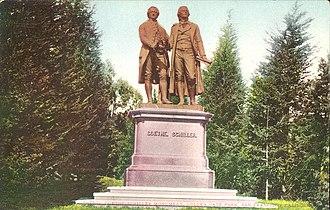Goethe–Schiller Monument - Image: Goethe Schiller San Francisco Postcard