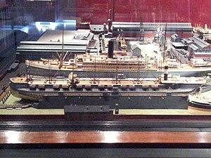 USS Beukelsdijk - Model of Grängesberg in drydock at the Maritime Museum Rotterdam