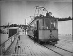 A tram on the Gråkall Line in Trondheim, Norway, in 1927