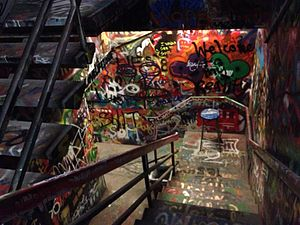 University of California, San Diego - Graffitied staircase in Mandeville Hall