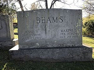 Jesse Beams - Beams's gravestone at the University of Virginia Cemetery in Charlottesville, Virginia.