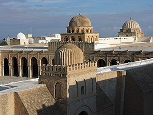 Tunisia - Domes of the Great Mosque of Kairouan. Founded in 670, it dates in its present form largely from the Aghlabid period (9th century). It is the oldest mosque in the Maghreb.