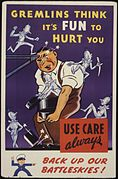 Gremlins think it's fun to hurt you. Use care always. Back up our battleskies^ - NARA - 535381.jpg