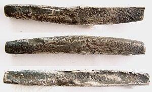 Grivna - Triangular Novgorod grivnas excavated near Koporye