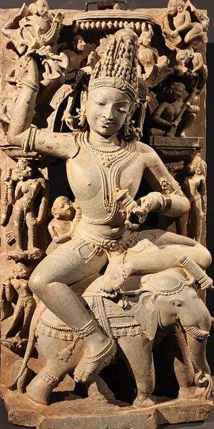 Indra - Indra is typically featured as a guardian deity on the east side of a Hindu temple.
