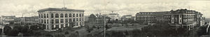 Joseph T. Jones - Gulfport Panorama in 1912, showing the Gulf and Ship Island Railroad Building (left) and Great Southern Hotel (right)