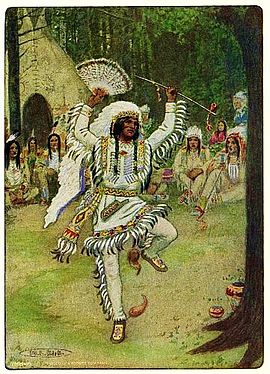 HE BEGAN HIS MYSTIC DANCES - from The Story of Hiawatha, Adapted from Longfellow by Winston Stokes and Henry Wadsworth Longfellow - Illustrator M. L. Kirk - 1910.jpg