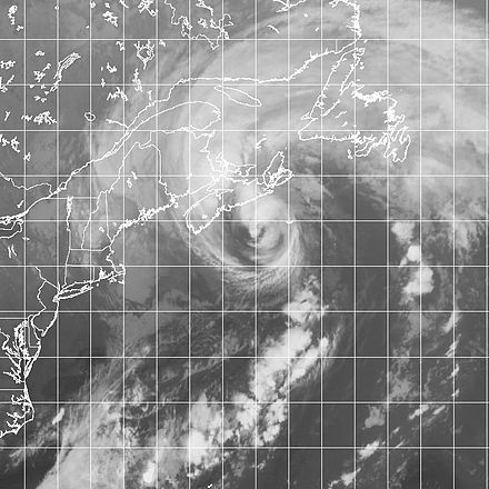 Hurricane Gustav near its first landfall in Nova Scotia on September 12 HR Gustav 20020912.jpg