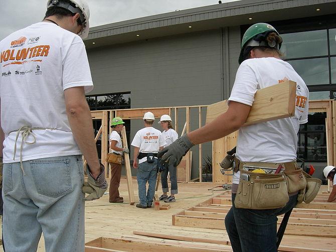 Habitat For Humanity Volunteers Constructing A