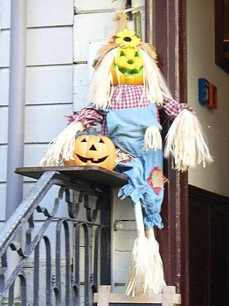 Allhallowtide - Hallowe'en decorations in Eifeler Hof, Germany.