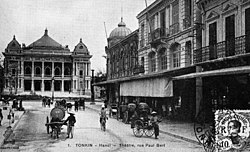 Hanoi Opera House, taken in the early 20th century, from the road Paul Bert (now Trang Tien street)