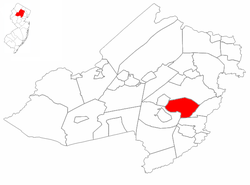 Hanover Township highlighted in Morris County. Inset map: Morris County highlighted in the State of New Jersey.