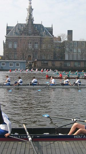"Former town hall of Nieuwer-Amstel - View across the Amstel from rowing club ""De Hoop""."
