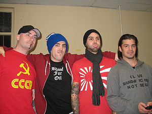 Hedley (band) - Left to right: Thomas MacDonald (Bass), Jacob Hoggard (Lead Singer), David Rosin (Lead Guitarist), Christian Crippin (Drummer)