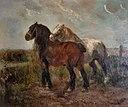 Henry Schouten.Brabantse trerkpaarden in landschap
