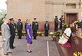 Her Royal Highness Princess Astrid of Belgium paying homage at Amar Jawan Jyoti, India Gate, in New Delhi on November 24, 2013.jpg