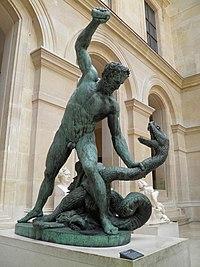 Hercule combattant Achéloüs métamorphosé en serpent (Hercules fighting Acheloos transformed into a snake), Bronze, cast by Carbonneaux, 1824, Louvre Museum (8270401670).jpg