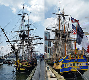 French frigate Hermione (2014) - French replica light frigate Hermione at New York South Street Seaport Pier 15, 1st of July 2015