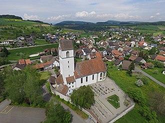 Herznach - Herznach village with the St. Nikolaus Church in foreground