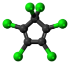 Ball-and-stick model of hexachlorocyclopentadiene