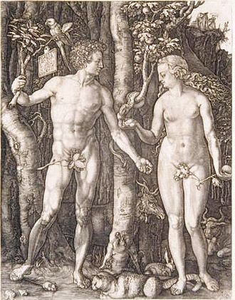 Hieronymus Wierix -  Adam and Eve after Durer